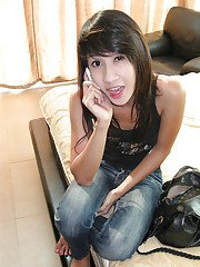 Horny Asian shemale amateurs posing in high heels and dresses