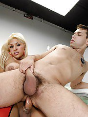 Busty blonde shemale nurse using her big cock to violate her patient