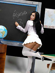 Gorgeous brunette shemale teacher violating her students shaved ass