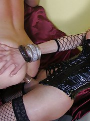 Gorgeous busty shemales getting together and fucking a guy in latex