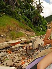 Blonde shemale Mil posing nude with cock in hand outdoors before doing anal