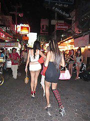 Ladyboy prostitutes head out looking for sex dates in high heels