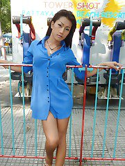 Skinny Thai tranny Am stripping in public and playing with her boner