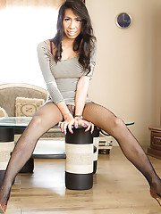 Gorgeous Thai tranny Pat 2 playing with her stiff rod in high heels