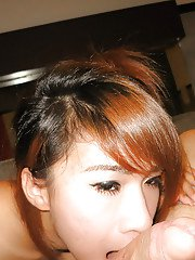 Hot young teen ladyboy Fang jerks off and does doggy style in the bed