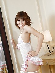Cute Thai shemale Nice modelling in sexy lingerie before jerking off