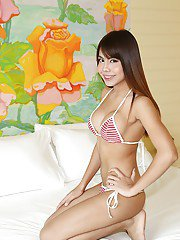 Pretty Asian shemale Dear posing solo in bikini and flashing big tits