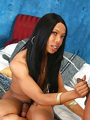 Ebony shemale on male blowjob with cumshot finish with big cock TS Asia