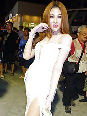 Non nude Thai ladyboys compete in public beauty pageant