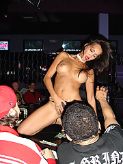 Sexy Asian slut Katsuni gets naked on the strip pole and turns the crowd on