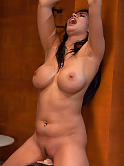 Isis Love tied up to the Sybian nipples sucked tight her cum squirting all over machine