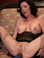 Hot Squirting MILF machine fucked until multiple jet stream orgasms soak the bed