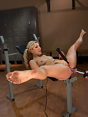 Blonde tight body hottie power tool fucked in her ass and pussy - she has shaking