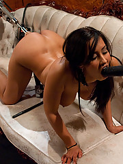 Isis Love squirting while machine fucks her pussy she gapes from 8 inch dick screams