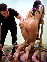 Big booty nympho ass fucked and expels enema water.