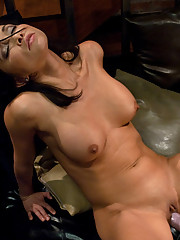 Asian tight pussy babe gets machine fucked in her apartment by two fast relentless
