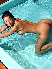 Horny Angel inside the water shows her big legs and nice ass