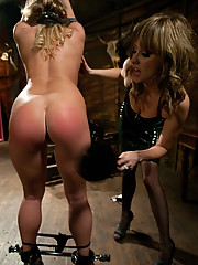 Aurora Snow is tied up spanked then ass fucked till shes gapping by sadistic domme