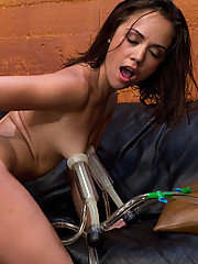 Kristina Rose fucked to oblivion by machines ramming her pussy. She has to tap on
