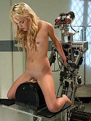 21yr old petite Blond dominated by Fuckzilla robot. She loses her mind on the Sybianfucking