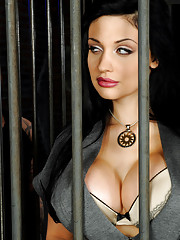 Hot glamour babe Aletta fucked by two big dicks in this jail