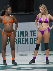 Tall Blond dominates and destroys stronger black girl on the mat. Face sitting and