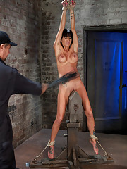 Extreme pussy torture on the wooden horse. Add in hard flogging a brutal zipper and