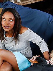 Gorgeous ebony teen Riyanna has her black teen pussy slammed hard