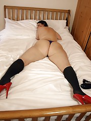 Daniella showing off her phat white ass in knee socks and fuck-me heels