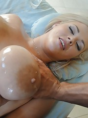 Dumb blonde gets her yummy privates massaged