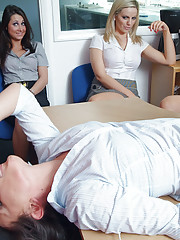 Nerd is stripped and sucked off in front of nine female office workers