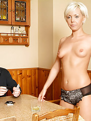 Stunning blond is tricked to strip off but her friends make the guy pay with his