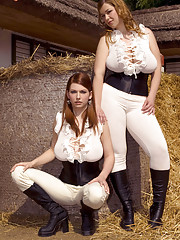 Big tit equestrian girls enjoy a threesome roll in the hay with the groom