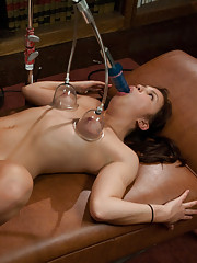 18yr olds FIRST PORN! Machines fuck her mouth amp pussy-she SQUIRTS mechanical tongues