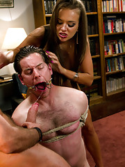 Sadistic wife cuckolds husband with tantric sex specialist. She fucks him in the