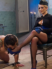 Strict dominatrix gives OTK CBT ass worship raw milking and a hard strap-on ass fucking
