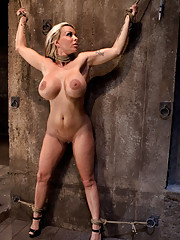 Smoking hot blond MILF with HUGE tits is bound spread made to cum over and over.