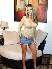 HotWifeRio wearing a short skirt with no panties on and getting a big  facial