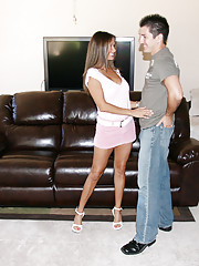HotWifeRio lifts up her short skirt then jerks off one of her members