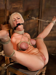 Sexy blond with pig tails braces and big tits is bound spread is gagged abused made