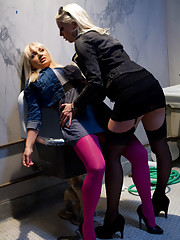 Hot Euro babe is taken advantage of punished and ass fucked by hot blonde lesbian