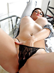 Anilos Vixen shows off her big boobs and her shaved pussy