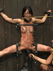 Bound in metal fucked by machine. Tia gets brutally whipped by Isis and made to take