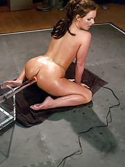 The glorious holes of Phoenix Marie completely fucked out by machines. She oils up