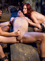 3 dominant bitches come back from the dead to haunt ex-boyfriend by humiliation tease
