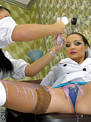 Pretty crazy maids getting dirty in a room