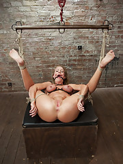 Hot muscular MILF Simone Sonay is made to work out bound given intense breast bondage