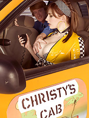 Big busty Christy Marks in latex uniform sucking big cock in the car