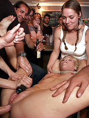 Beautiful blonde MILF endures public humiliation and pain to be rewarded with cock