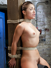 Kristina cries from intense pleasure cumming over and over in a strict hogtie tickle